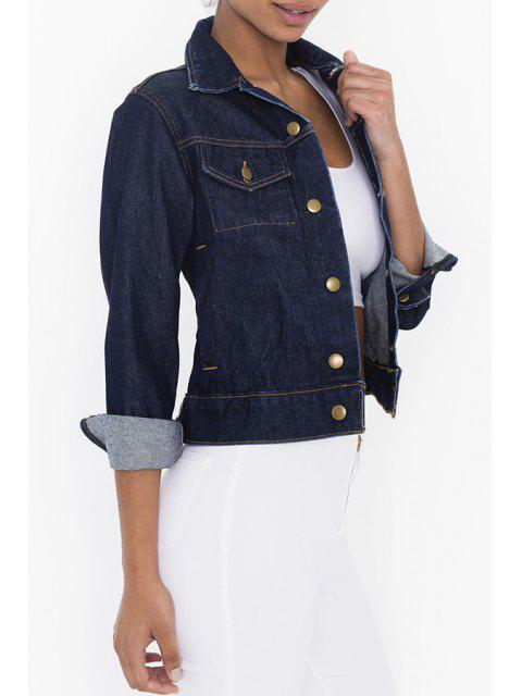 shop Denim Turn-Down Collar Single-Breasted Jacket - DEEP BLUE M Mobile