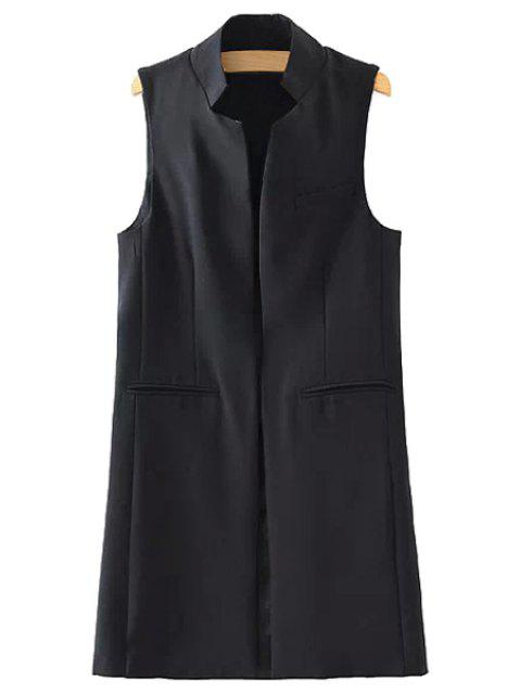 buy Stand Neck Pure Color Waistcoat - BLACK L Mobile