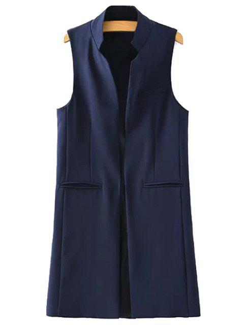 ladies Stand Neck Pure Color Waistcoat - DEEP BLUE L Mobile