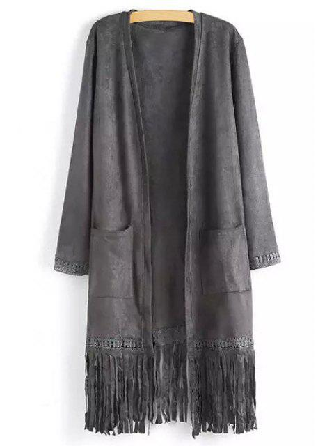 shops Two Pockets Fringed Suede Coat - GRAY S Mobile
