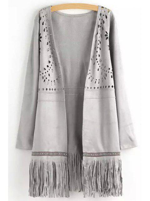 affordable Openwork Fringed Suede Coat - GRAY S Mobile