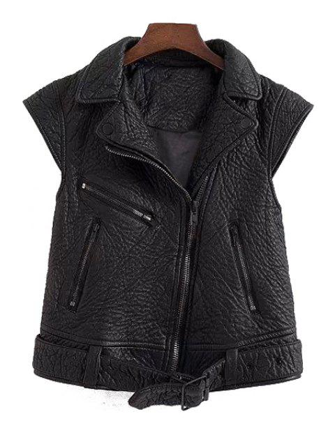 ladies PU Leather Black Side Zipper Thicken Waistcoat - BLACK L Mobile
