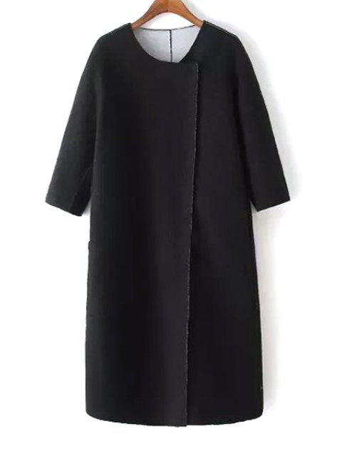 outfits 3/4 Sleeve Covered Button Black Coat - BLACK S Mobile