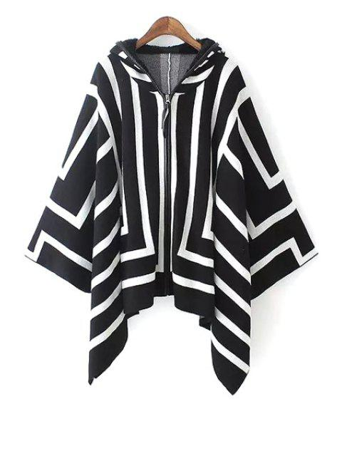 women Hooded White Stripes Cloak Cardigan - WHITE AND BLACK M Mobile