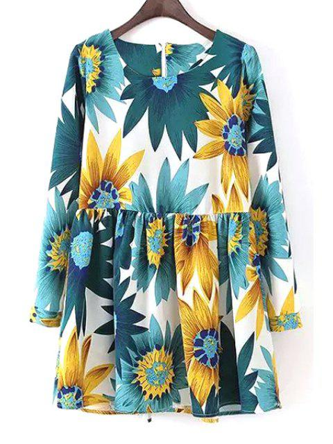 women Long Sleeve Sunflower Print Dress - WHITE S Mobile