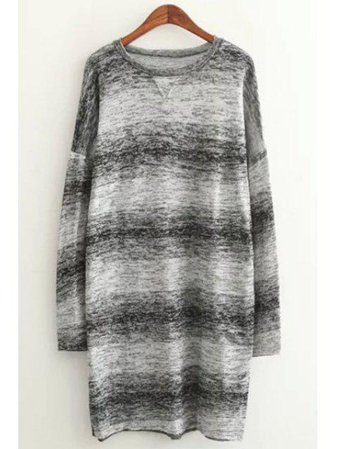 shop Long Sleeve Ombre Color Sweater - GRAY ONE SIZE(FIT SIZE XS TO M) Mobile