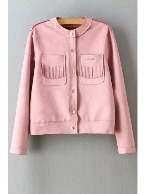 unique Round Neck Two Pockets Suede Jacket - PINK M Mobile