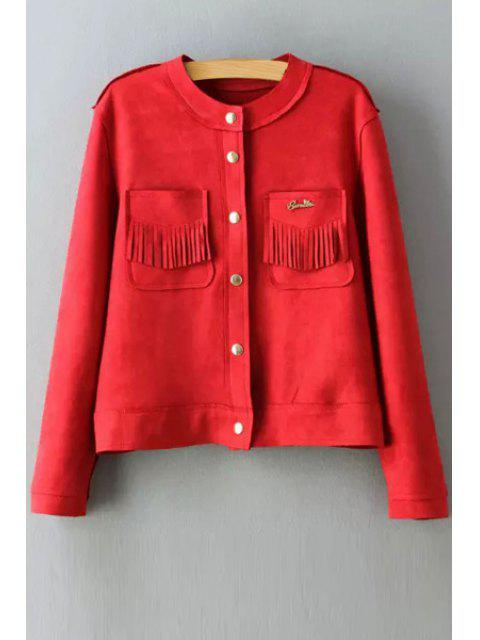 womens Round Neck Two Pockets Suede Jacket - RED L Mobile