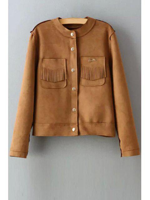 women's Round Neck Two Pockets Suede Jacket - KHAKI M Mobile