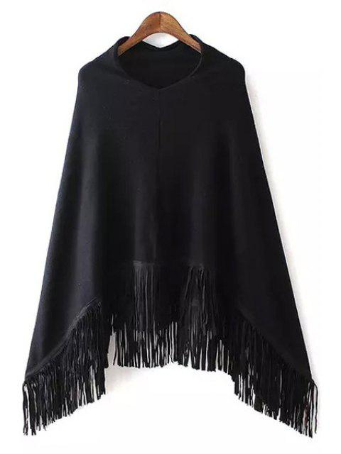 unique V-Neck Fringed Cape Sweater - BLACK ONE SIZE(FIT SIZE XS TO M) Mobile