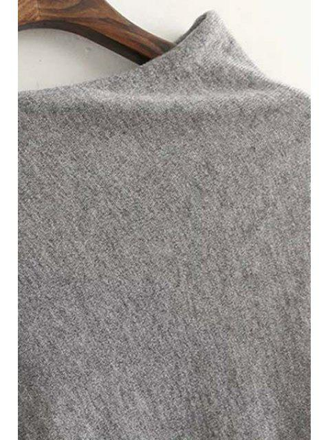 chic Tessels Asymmetric Cape Sweater - GRAY ONE SIZE(FIT SIZE XS TO M) Mobile