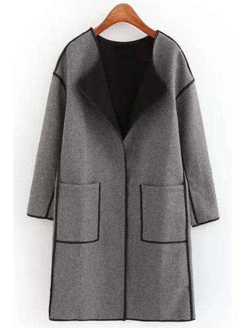 best Round Neck Big Pockets Wool Coat - GRAY M Mobile