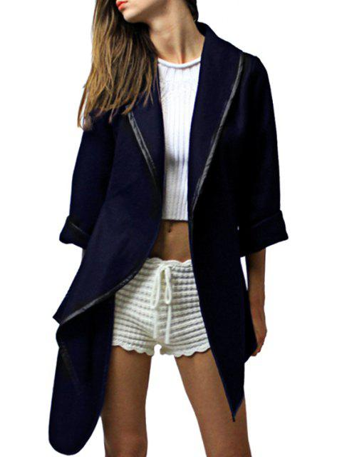 women's Pure Color Turn Down Collar 3/4 Sleeve Coat - CADETBLUE L Mobile