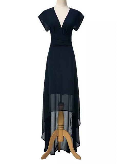 affordable High Low Plunging Neck Short Sleeve Dress - PURPLISH BLUE M Mobile