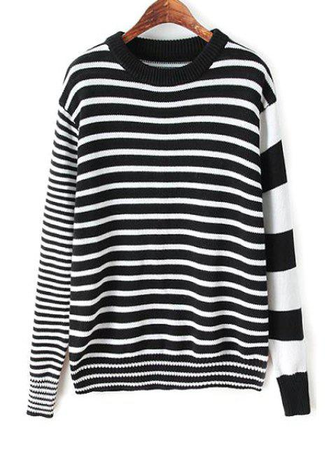 chic Stripes Spliced Long Sleeve Jumper - WHITE AND BLACK S Mobile