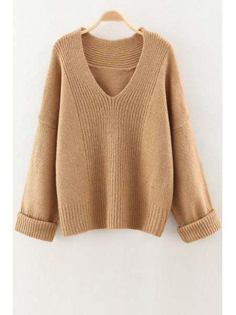 hot V Neck Solid Color Sweater - CAMEL ONE SIZE(FIT SIZE XS TO M) Mobile