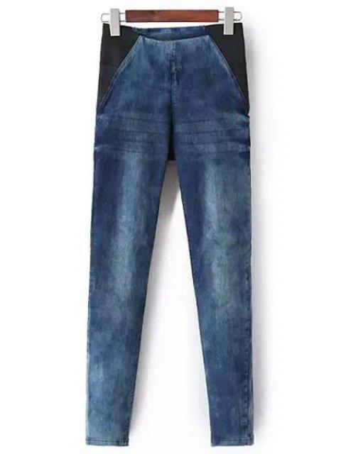 fancy Bleach Wash Stretchy Pencil Jeans - BLUE S Mobile