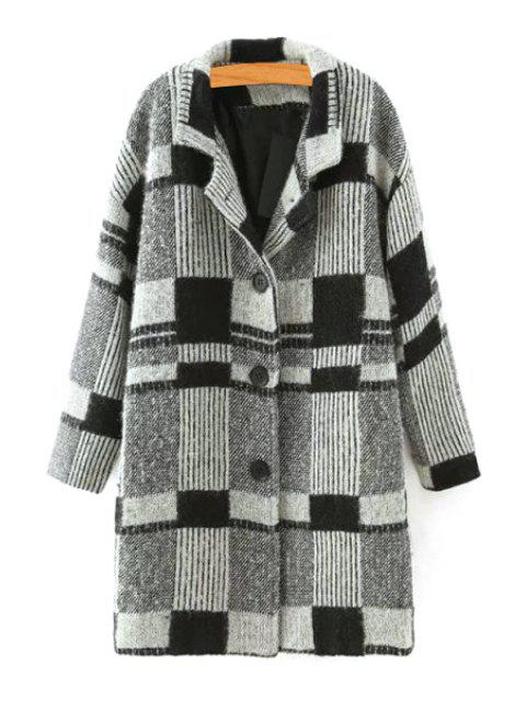 womens Checked Lapel Neck Long Sleeve Coat - BLACK AND GREY L Mobile
