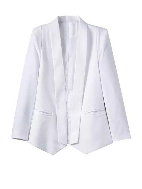 hot White Shawl Collar Long Sleeve Blazer - WHITE L Mobile