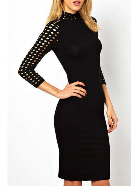 trendy Stand Neck Hole Design Bodycon Dress - BLACK S Mobile
