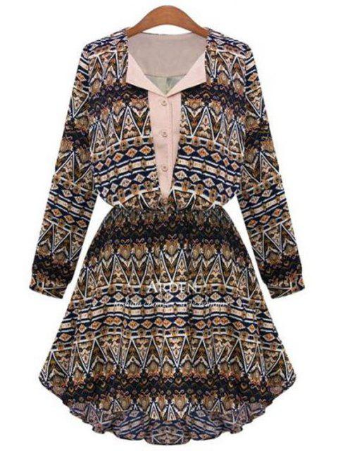 women Geometric Print V Neck Long Sleeve A Line Dress - COFFEE M Mobile