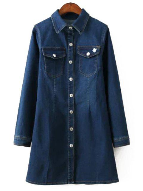 ladies Solid Color Turn-Down Collar Denim Dress - DEEP BLUE M Mobile