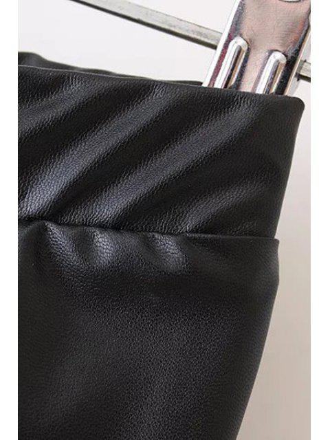 outfits PU Leather Narrow Feet Black Pants - BLACK L Mobile