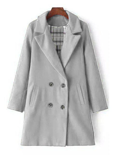 outfit Lapel Double-Breasted Wool Coat - GRAY L Mobile