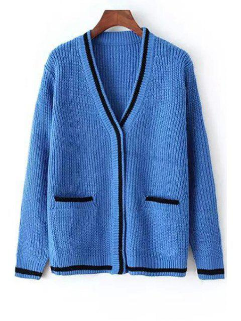 affordable V-Neck Two Pockets Cardigan - BLUE ONE SIZE(FIT SIZE XS TO M) Mobile