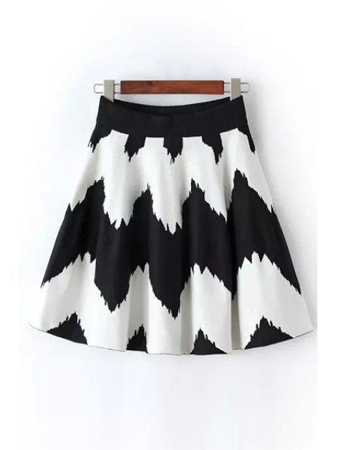 chic Wavy Stripes A-Line Knitted Skirt - WHITE AND BLACK ONE SIZE(FIT SIZE XS TO M) Mobile