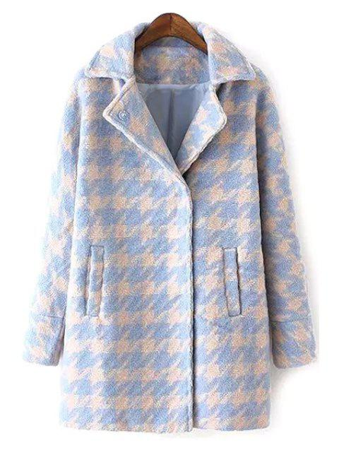 outfits Houndstooth Lapel Collar Long Sleeves Coat - LIGHT BLUE XL Mobile