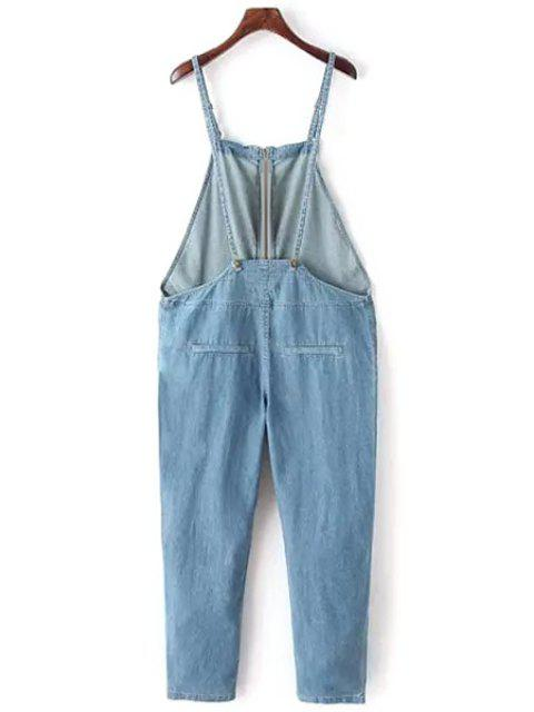 women Bleach Wash Zippered Overalls - LIGHT BLUE L Mobile