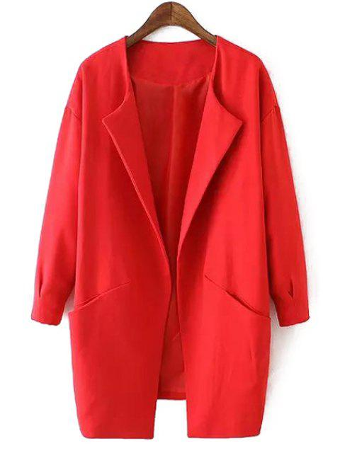 unique Solid Color Collarless Long Sleeves Thicken Coat - RED M Mobile