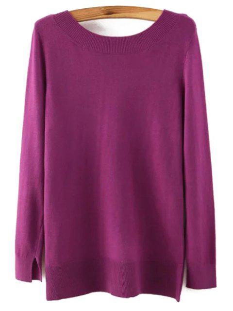 outfits Long Sleeve Low Back Sweater - PURPLE S Mobile