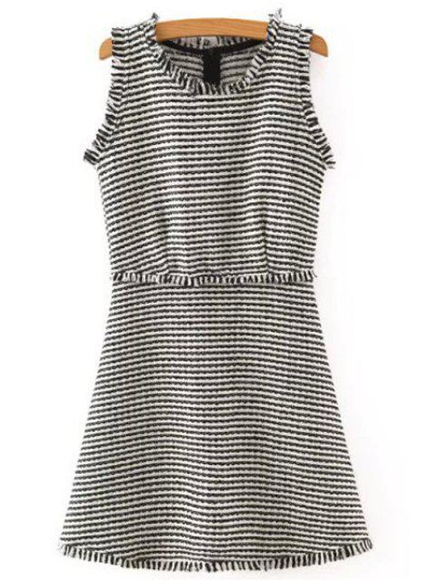 outfit Striped Sleeveless Scoop Neck Dress - WHITE AND BLACK L Mobile