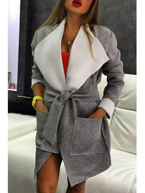 Grey Abajo Collar abrigo de manga larga - Gris L Mobile