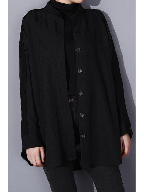 womens Stand Neck Loose-Fitting Spliced Coat - BLACK ONE SIZE(FIT SIZE XS TO M) Mobile