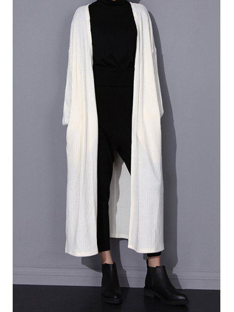 affordable Solid Color Pockets Longline Cardigan - WHITE ONE SIZE(FIT SIZE XS TO M) Mobile