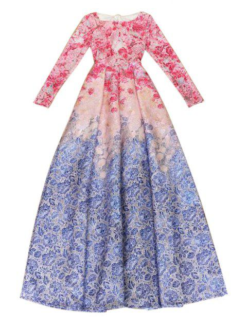 outfit Long Sleeve Floarl Print Maxi Dress - BLUE AND RED L Mobile