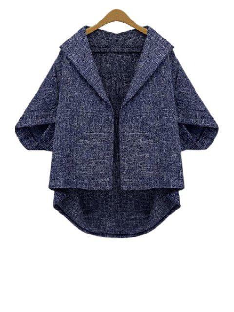 chic Batwing Sleeve Plus Size Cape Jacket - BLUE 3XL Mobile
