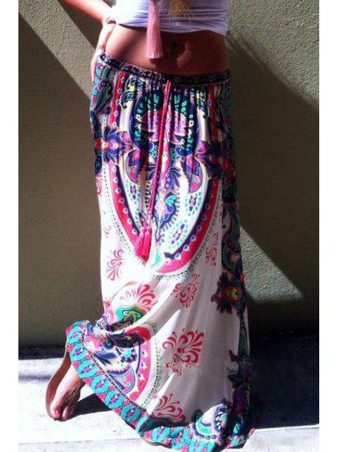 fashion Printed Drawstring Design Long Skirt - WHITE S Mobile