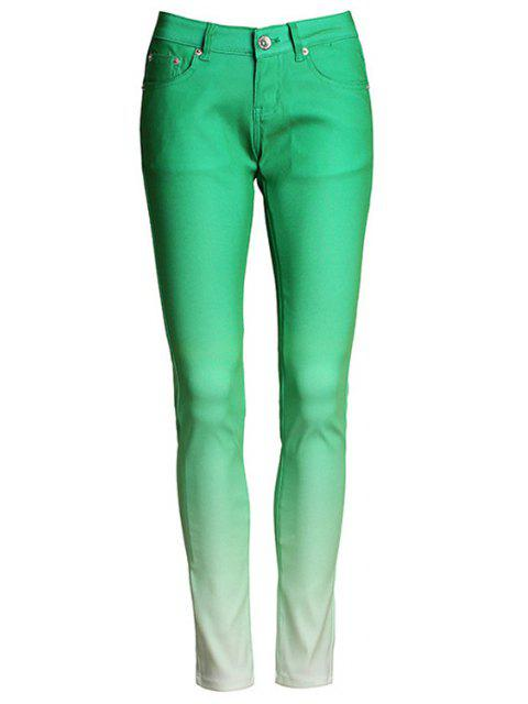 ladies Ombre Color Narrow Feet Pants - GREEN M Mobile
