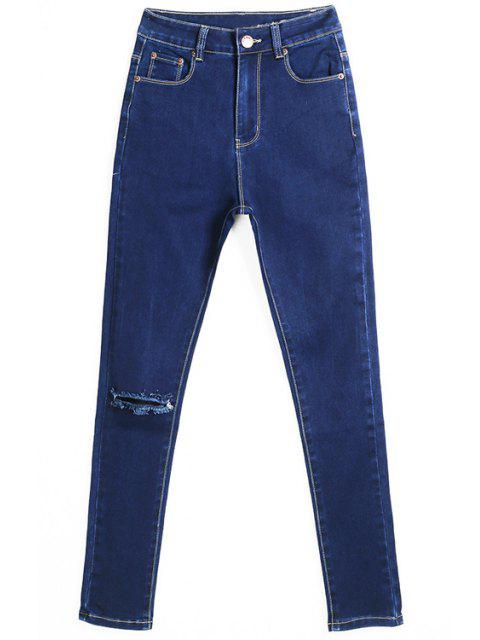 affordable Hole High Waisted Skinny Jeans - DEEP BLUE 36 Mobile