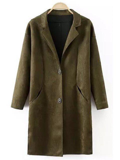 buy Lapel Pocket Design Suede Coat - BLACKISH GREEN S Mobile