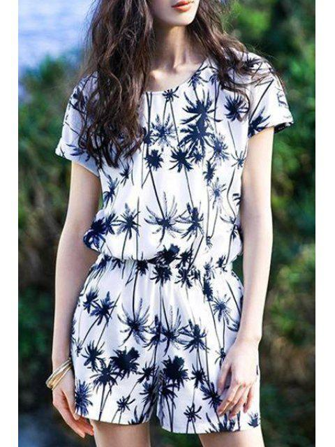 new Coco Tree Print Short Sleeves Elastic Waist Romper - WHITE S Mobile