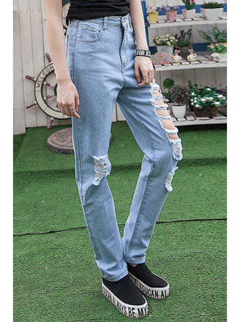 ladies Hole High Waisted Narrow Feet Jeans - LIGHT BLUE 32 Mobile