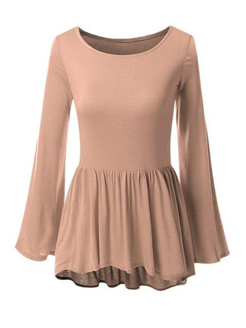 lady Bell Sleeve Solid Color Peplum T-Shirt - COFFEE L Mobile