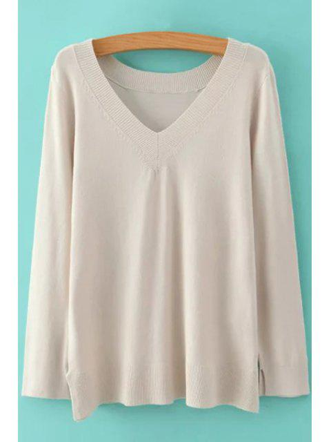 online Pure Color V Neck Long Sleeve Jumper - OFF-WHITE L Mobile