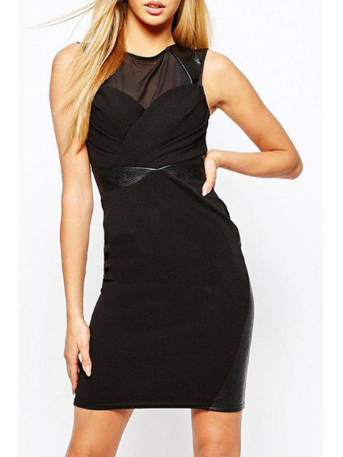women Volie Spliced Black Bodycon Dress - BLACK M Mobile