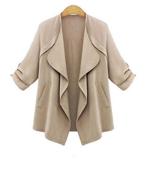 outfits Rolled Sleeve Apricot Trench Coat - APRICOT L Mobile